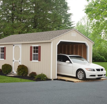 tan vinyl cottage garage