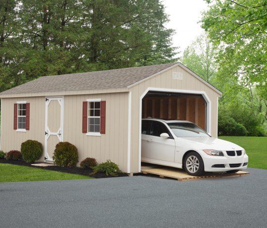 tan vinyl cottage garage