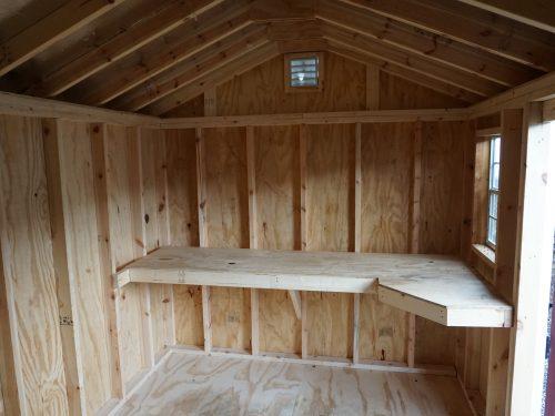 interior shelf in cottage shed