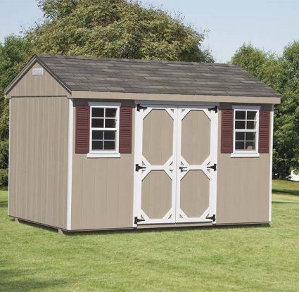 tan vinyl cottage shed