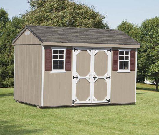 tan vinyl cottage shed