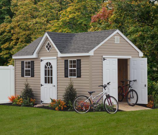 tan vinyl a-frame dormer shed