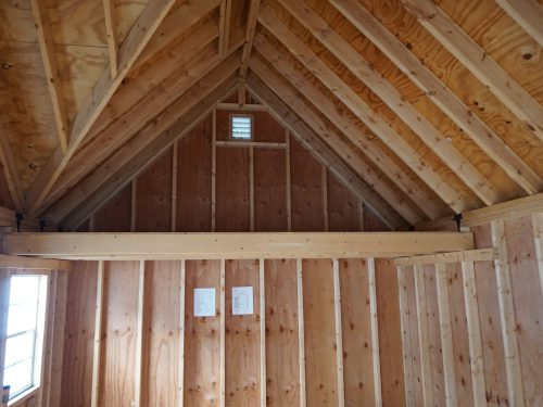 interior of wooden alpine shed