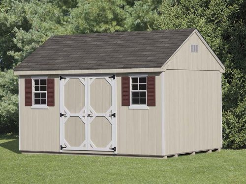 tan cape shed with red shutters