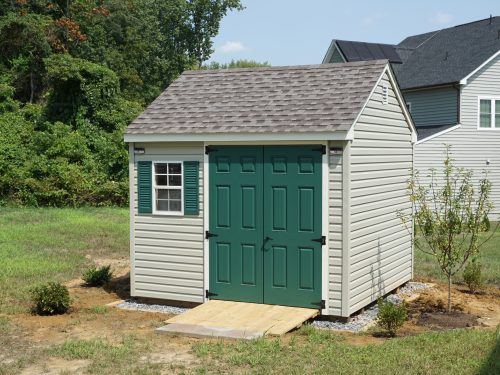 small gray vinyl cape shed