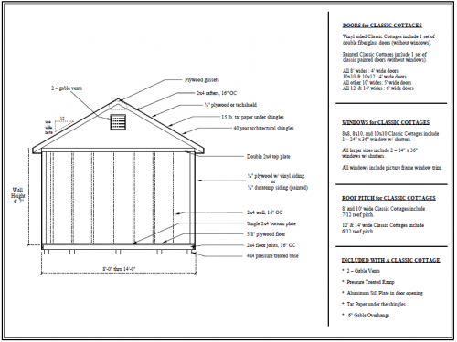 floor plan for classic cottage shed