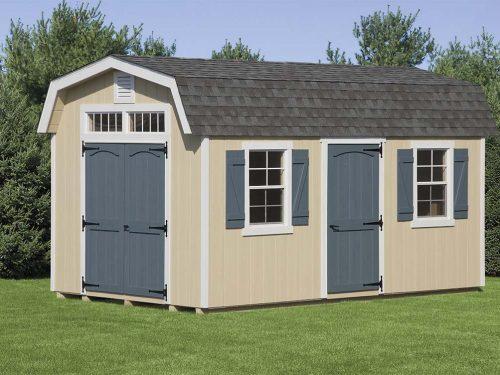 tan and blue classic dutch barn