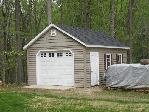 tan custom classic cottage garage
