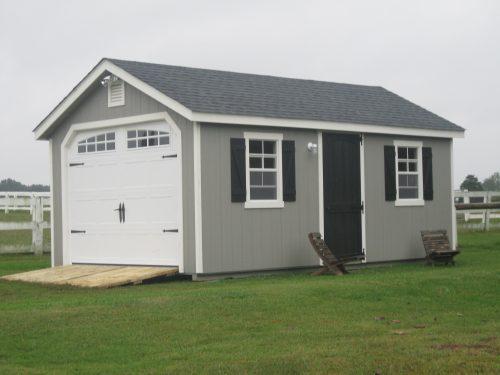 gray one car cottage garage