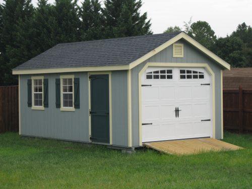 light blue classic cottage garage