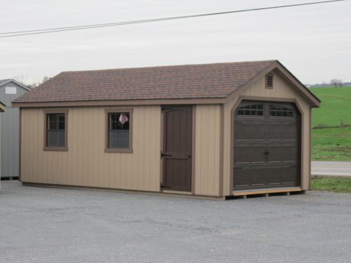 tan classic cottage garage