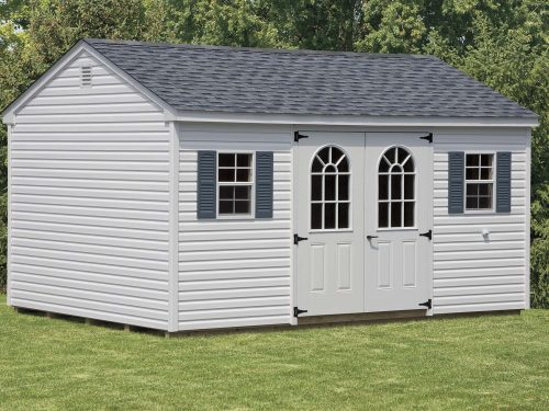 white cottage shed with two windows