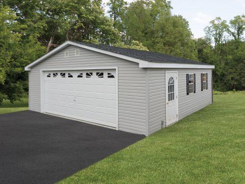 gray vinyl two car garage