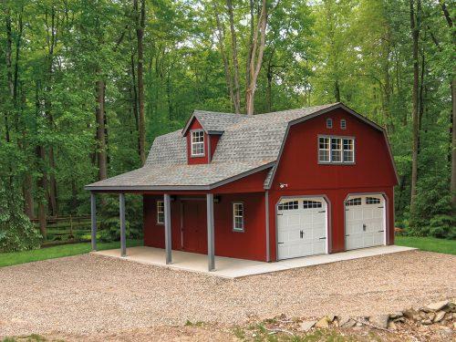 red two car dutch barn garage