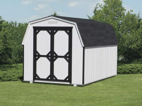 white and black mini barn