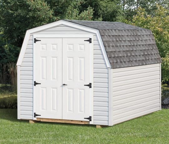 white mini barn shed