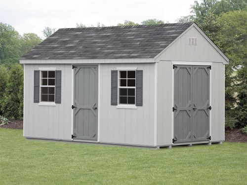 gray cape shed with shingle roof