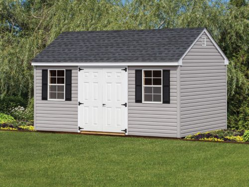 gray vinyl cape shed with shingle roof
