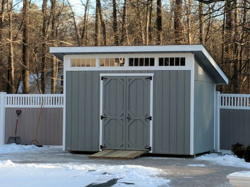 gray classic cottage shed