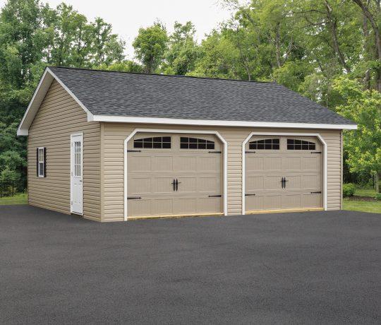 tan vinyl two car garage