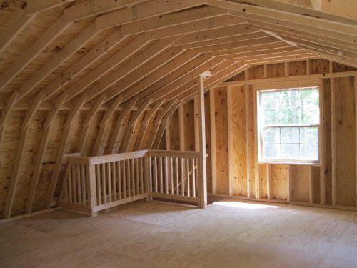 interior of loft of dutch barn