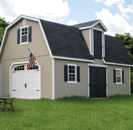 tan vinyl two story dutch barn
